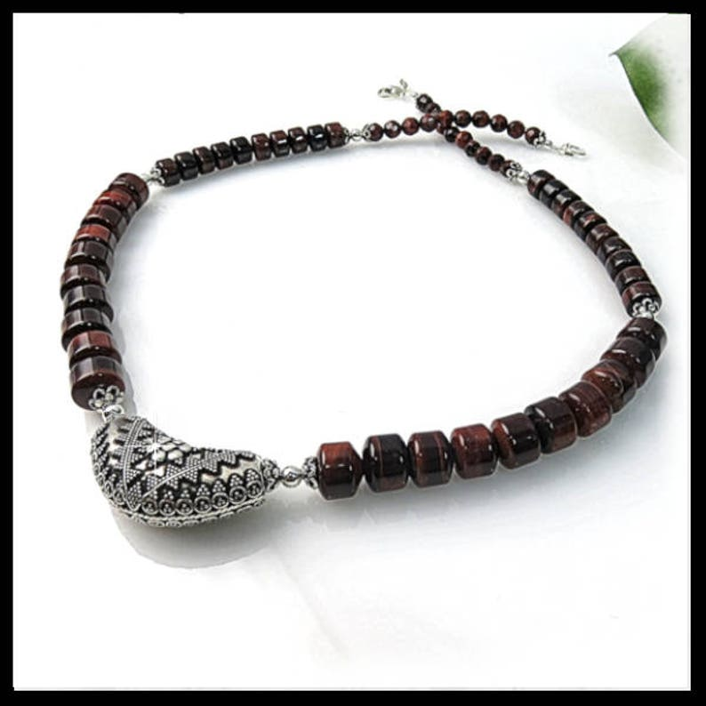 2220Red Tigereye Beaded Necklace Brown necklace brown image 0
