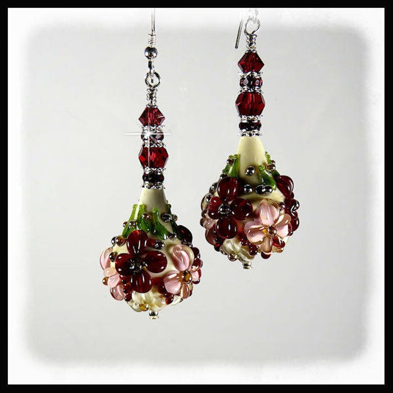 2291 Deep red pink and white floral lampwork earrings red image 0
