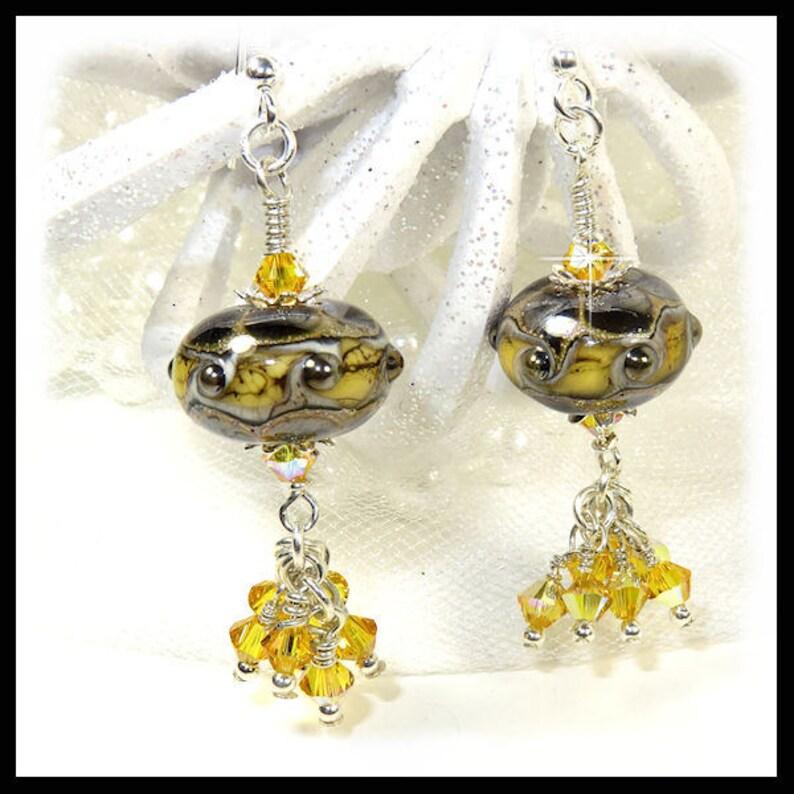 2380 Green yellow earrings lampwork earrings green earrings image 0