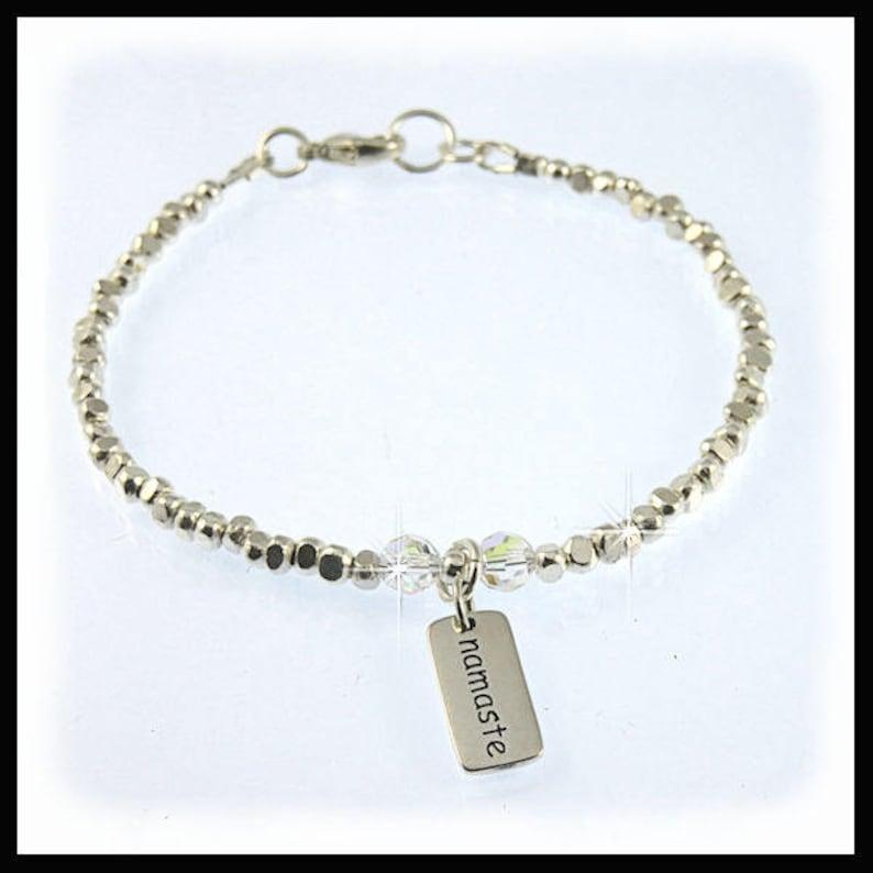 2239 Namasta fine silver bracelet Namasta jewelry fine image 0