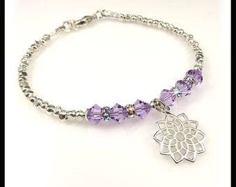 2311 Crown Chakra violet crystal bracelet charm, Crown Chakra Charm bracelet, Fine silver and Violet Swarovski crystal bracelet, handmade