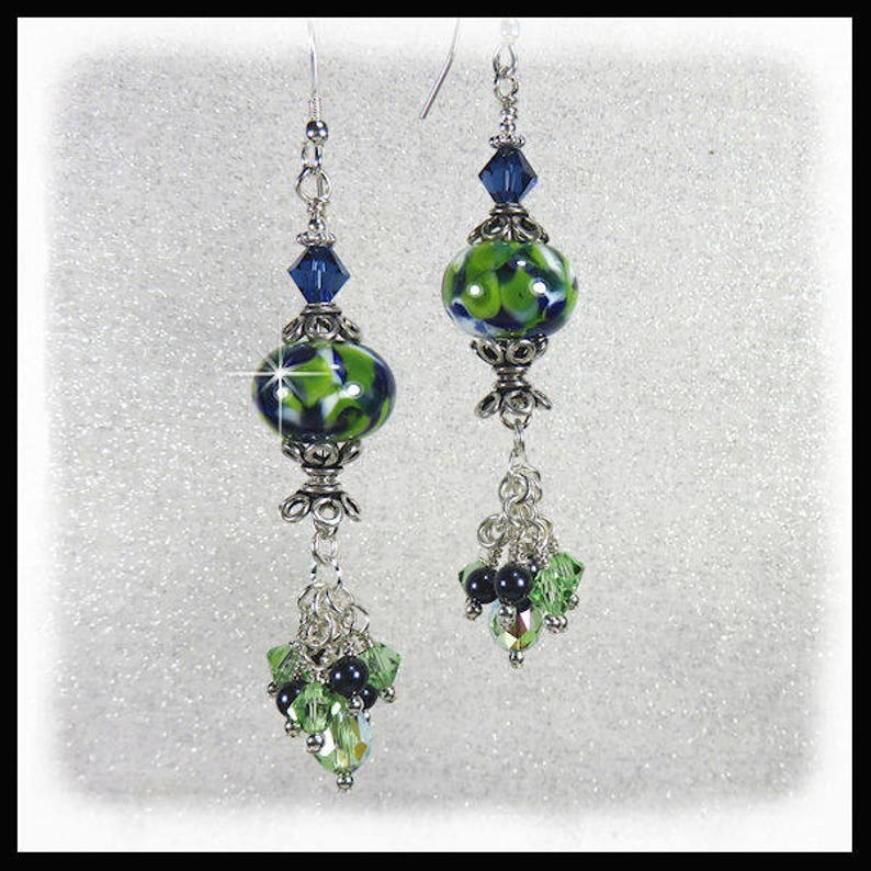 2281 Blue green and white lampwork glass earrings with green image 0