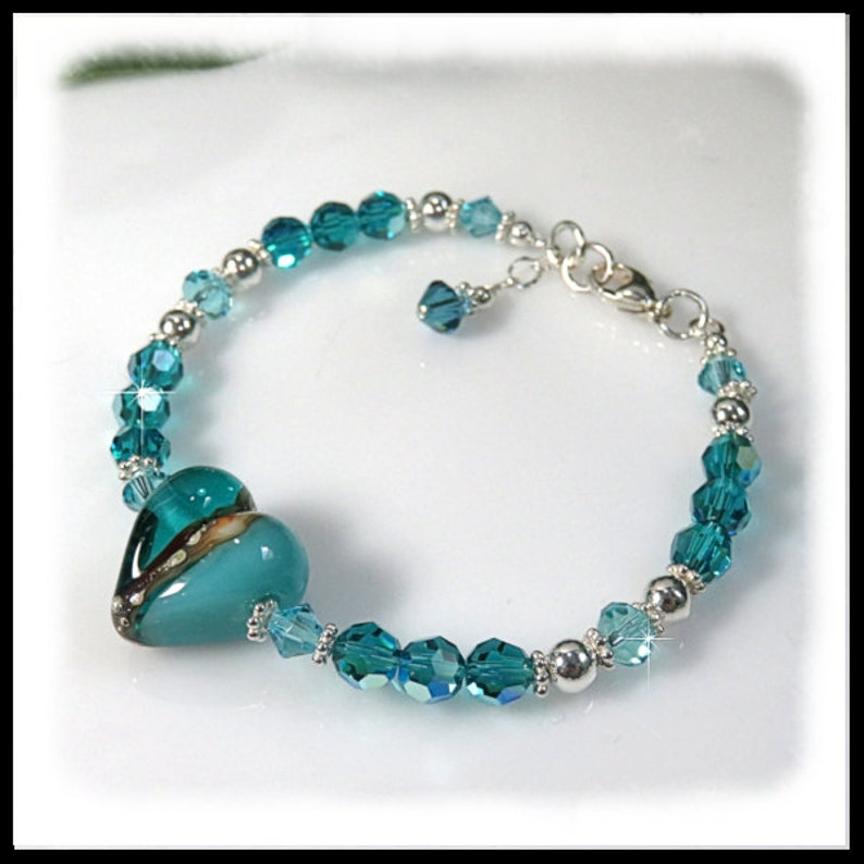 1919. Teal and White Lampwork Glass Bracelet Turquoise image 0