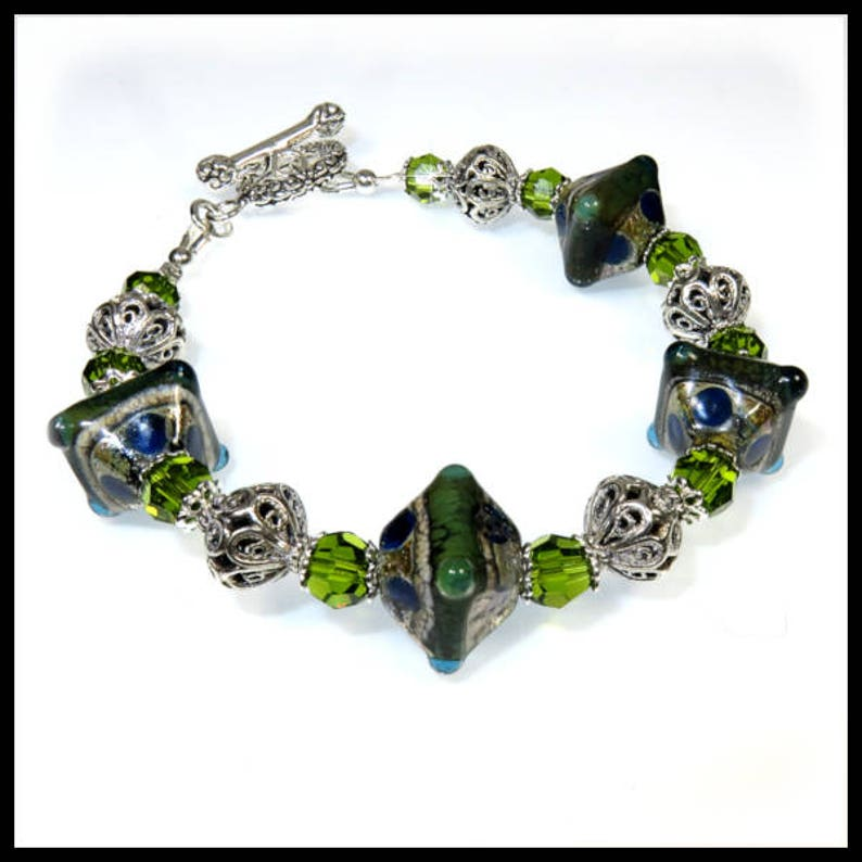 2251 Green and blue lampwork glass with bali silver and image 0