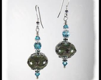 2337, Olive green and blue lampwork earrings, rustic green earrings, green and blue jewelry, artisan  beads, handmade beaded earrings