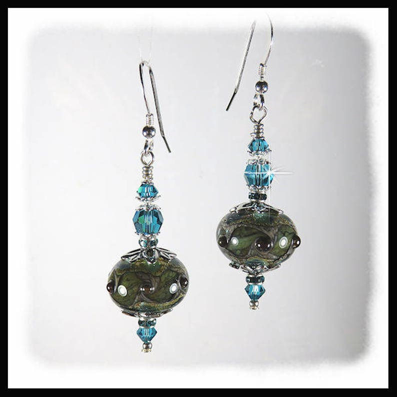 2337 Olive green and blue lampwork earrings rustic green image 0