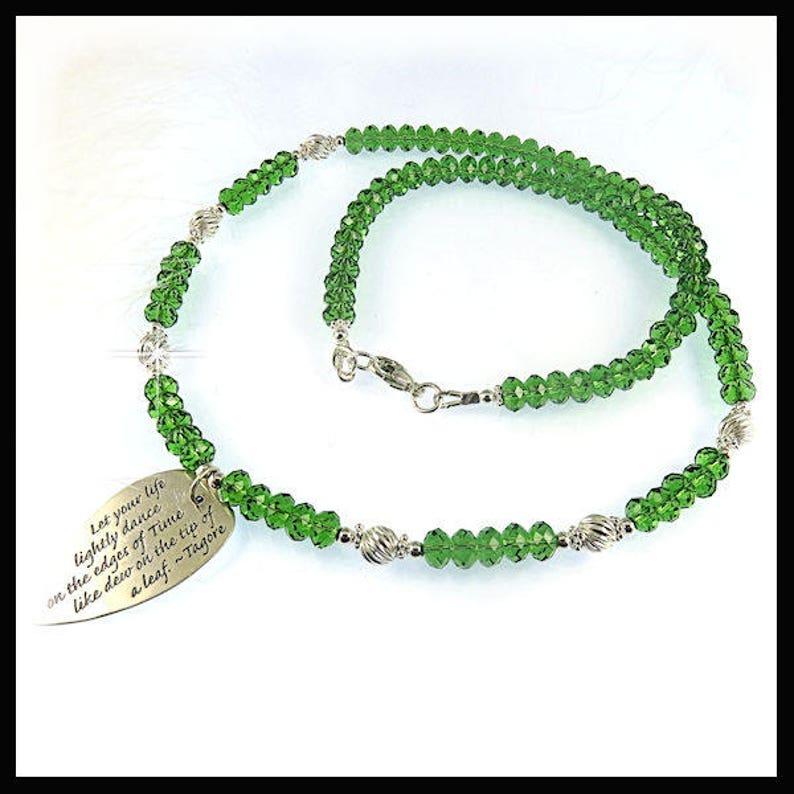 2211 Fern Green Swarovski crystal necklace green jewelry image 0