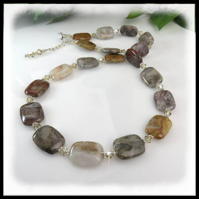 2149 Flower Jasper Necklace Brown and Tan Jewelry Gemstone image 0