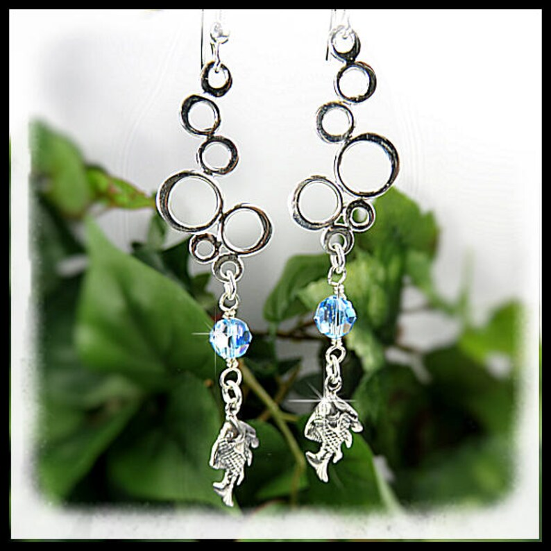 2165E. Sterling Silver Bubbles and fish earrings Summer image 0