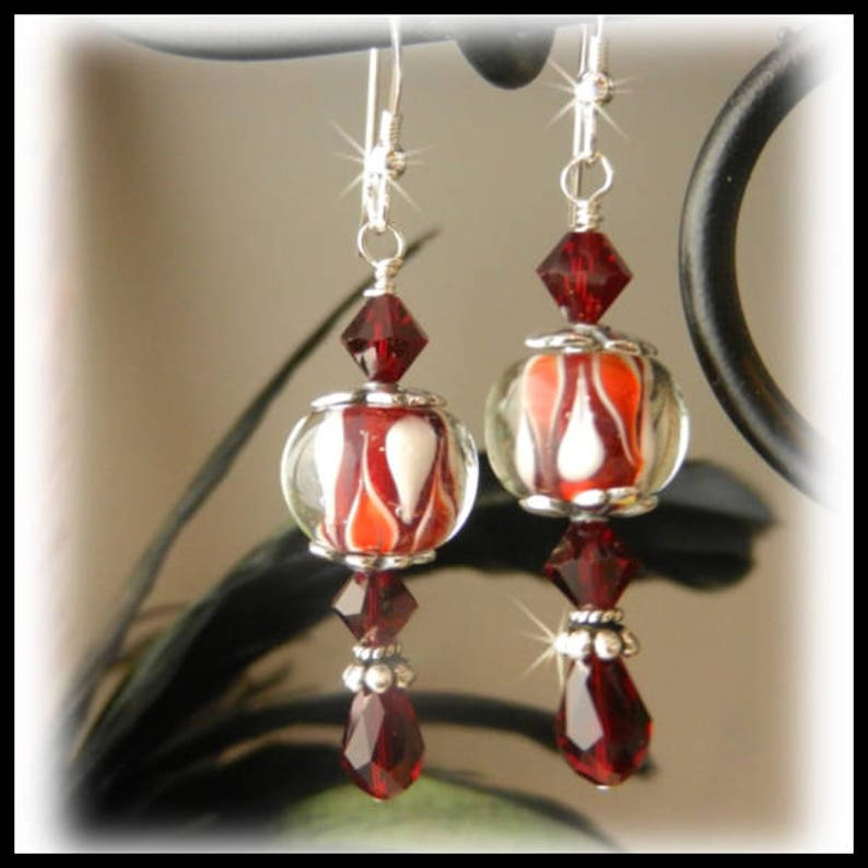 2082 Red and White Glass Earrings Red Crystal Earrings Red image 0