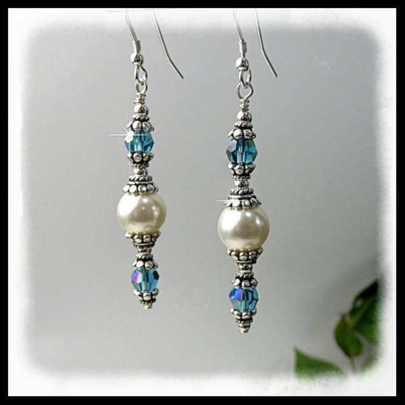 2225 Dangle earrings Pearl earrings Indonite crystal image 0