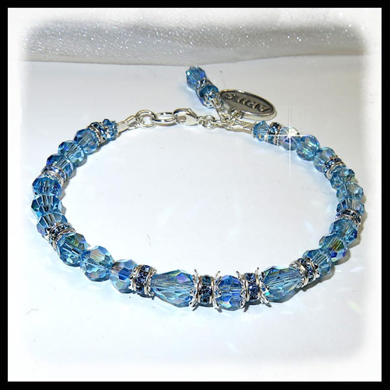 2439 March birthstone bracelet Aquarmarine crystal bracelet image 0