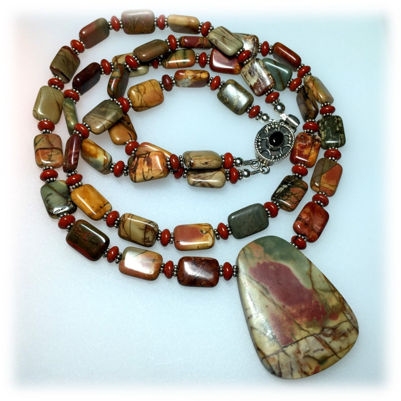 2033N Red Creek Jasper Gemstone Necklace Rust and Green image 0