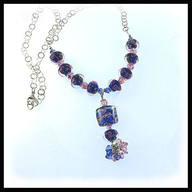 2241 Pink roses in blue lampwork glass beads necklace with image 0
