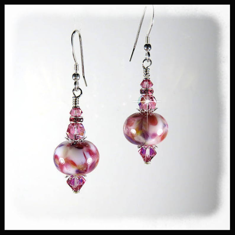 2297 Pink white purple lampwork  earrings with Rose image 0