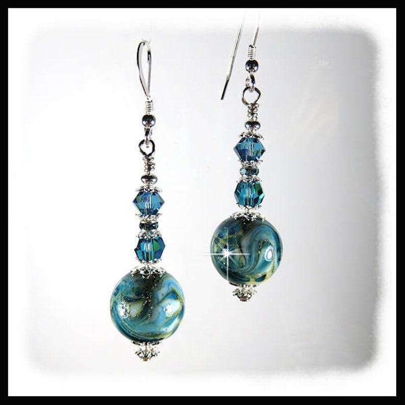 2321 Turquoise earrings Turquoise lampwork earrings Handmade image 0