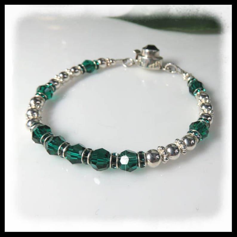 2132 Emerald Crystal Bracelet May birthstone bracelet Green image 0