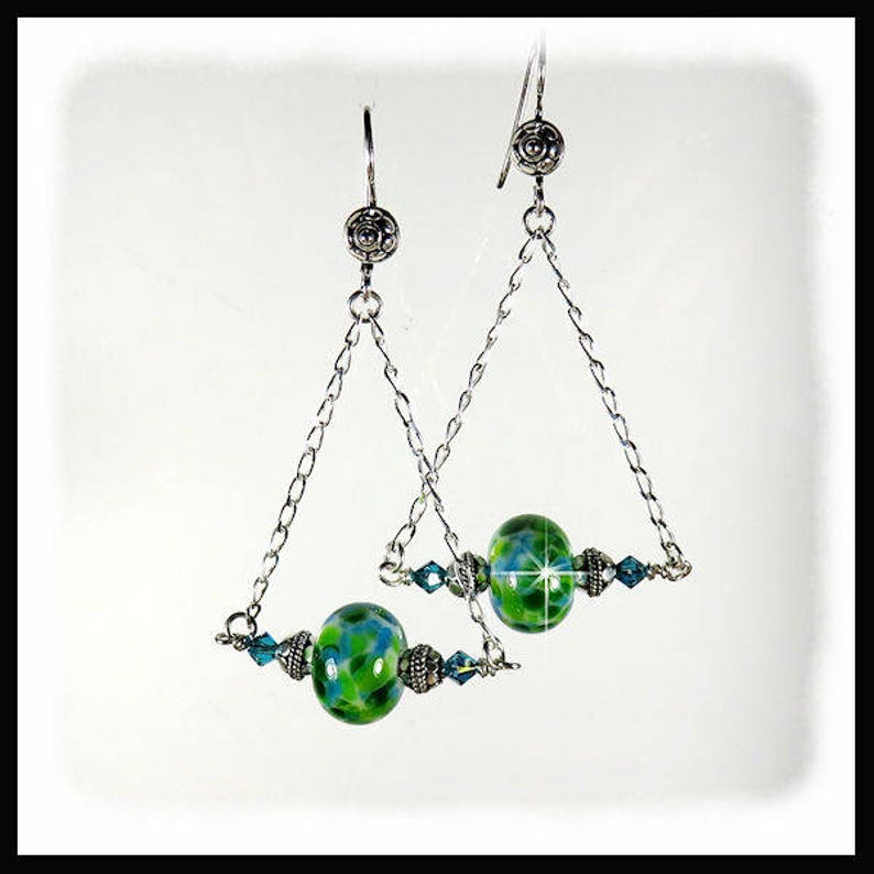2293 Green and Aqua lampwork glass earrings with Indocolite image 0