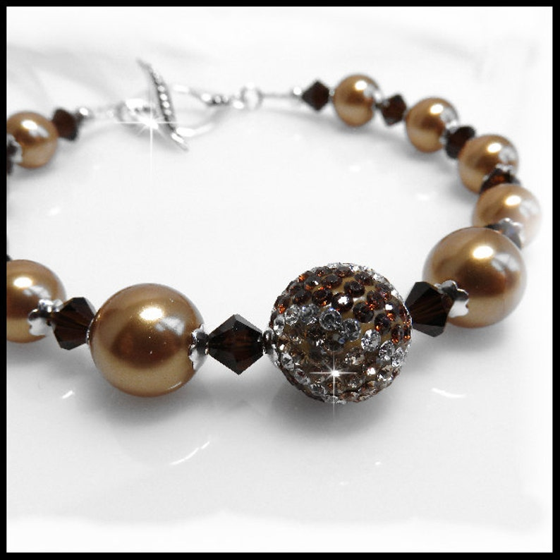 2136 Bright Gold Swarovski Pearls Bracelet Pave and Crystal image 0