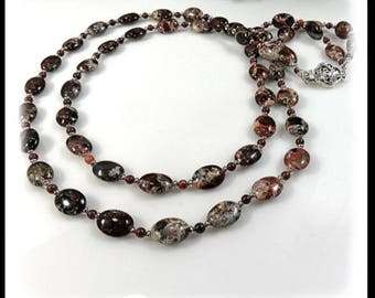 1620, Poppy Jasper double strand necklace, red jewelry, long necklaces,