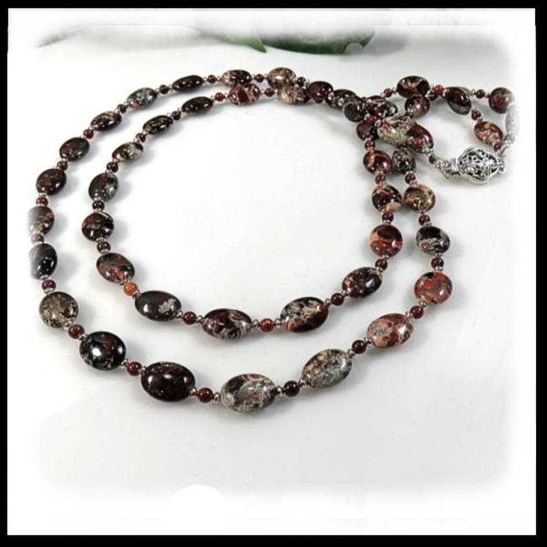 1620 Poppy Jasper double strand necklace red jewelry long image 0