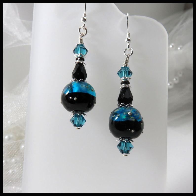 2412 Blue Moon earrings black and blue earrings lampwork image 0