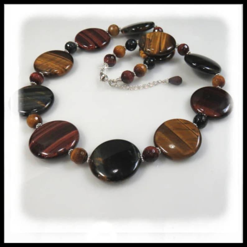 2000 Tigereye gemstone necklace large coin gemstones brown image 0