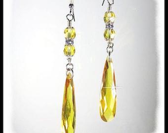 2310 Golden Cubic Zirconia teardrop earrings, topaz crystal earrings, November birthstone earrings, long  yellow earrings, handmade earring