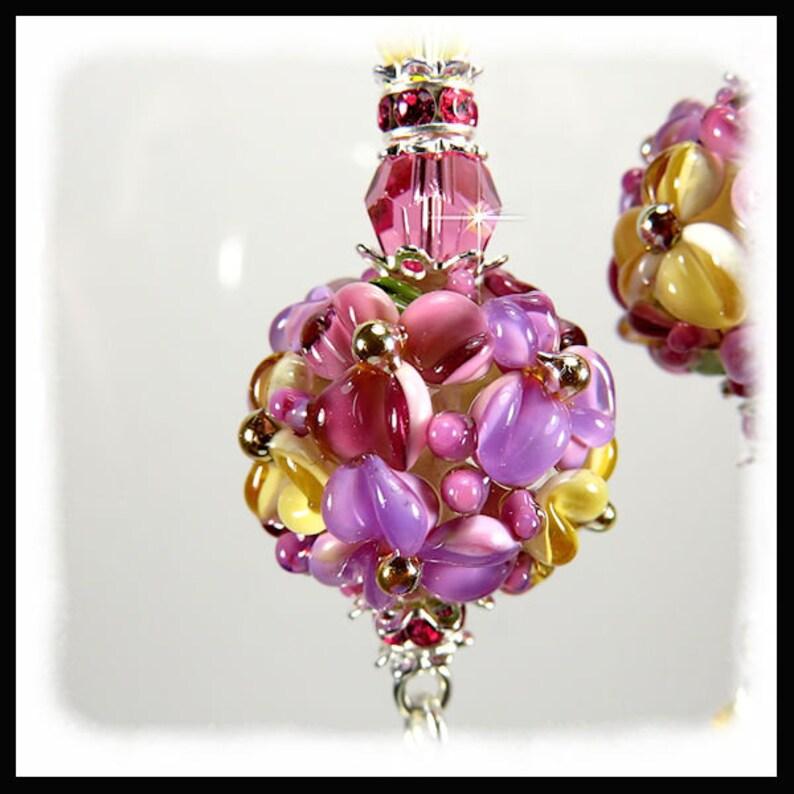 2330 Pink floral earrings chandelier earrings long pink image 0
