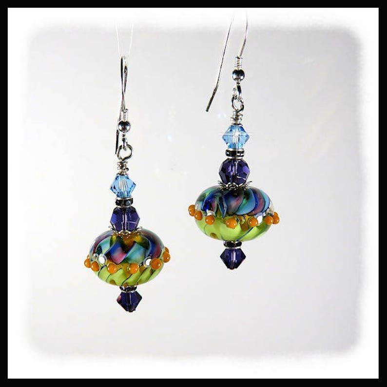 2288 Lampwork earrings in purple aqua lime green and image 0