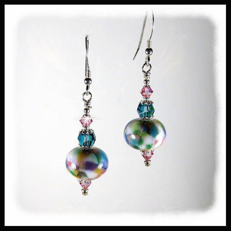 2320 Turquoise lampwork earrings Turquoise and pink lampwork image 0