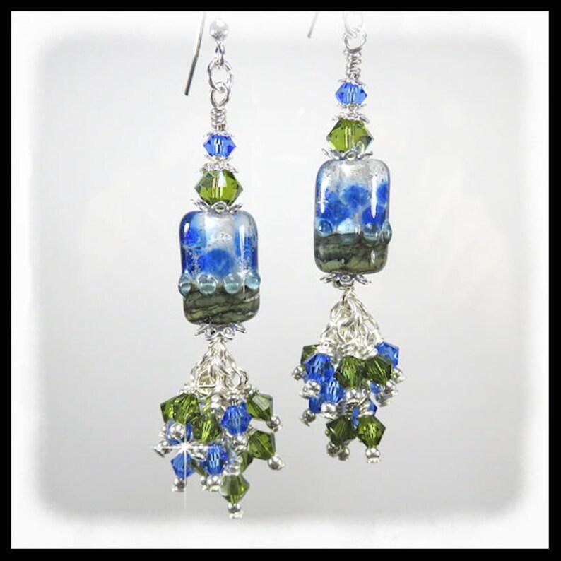 2492E Green and Blue rustic earrings chandelier earrings image 0