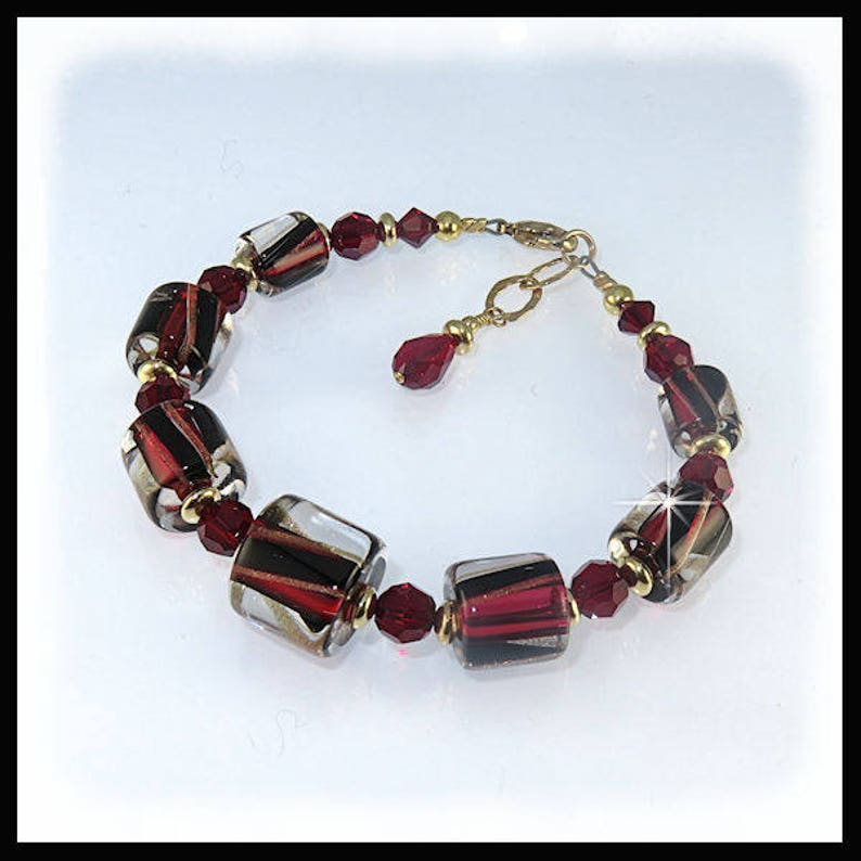 2202 Black red bracelet with gold filled beads David image 0