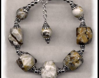 1756, Fieldpath graphic and sterling silver bracelet, gray and tan jewelry, fieldpath graphic jewelry, gold and cream color jewelry,
