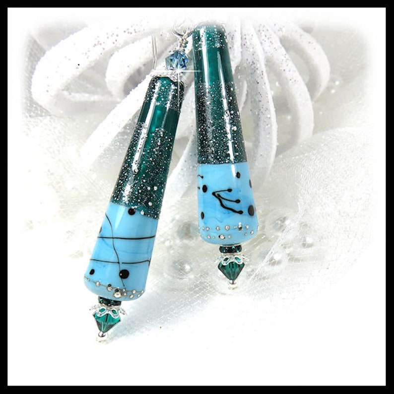 2464 By The Waters Edge Green Turquoise earrings long image 0
