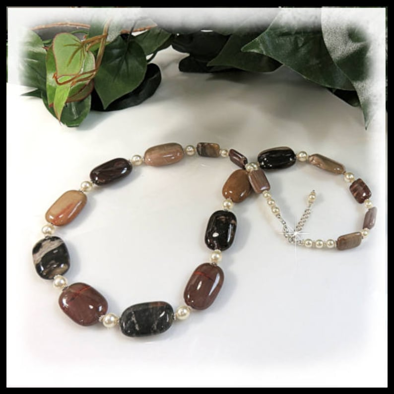 1859N Petrified Wood and Pearls Necklace Gemstone Jewelry image 0
