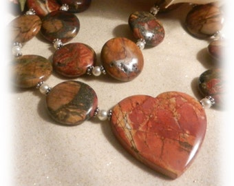 2041N, Red Creek Jasper Gemstones, Fall Colors, Pendant Necklaces, Brown, Green and Copper Jewelry, Heart Necklaces
