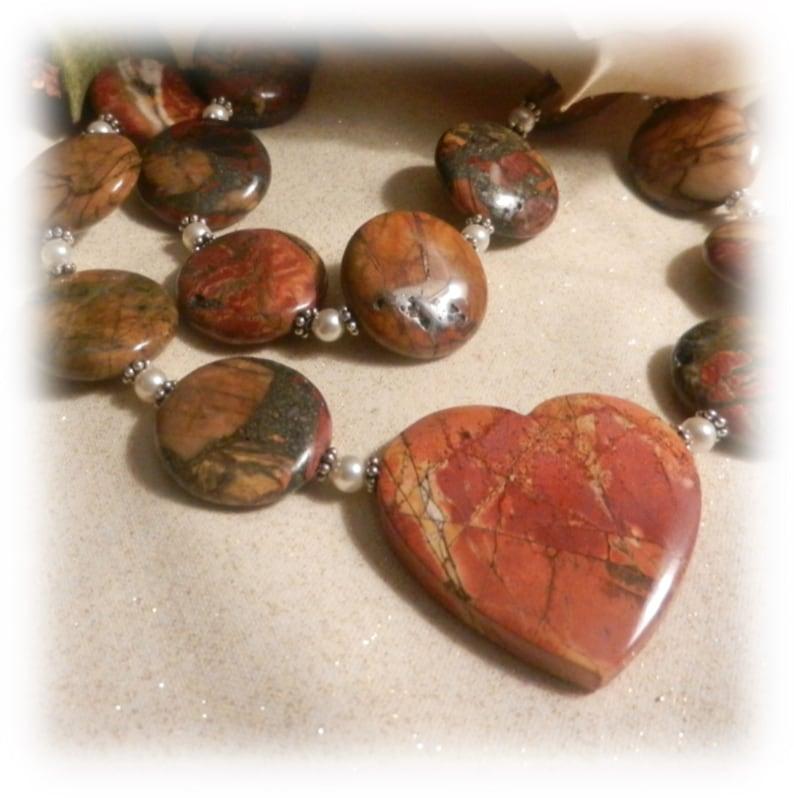 2041N Red Creek Jasper Gemstones Fall Colors Pendant image 0