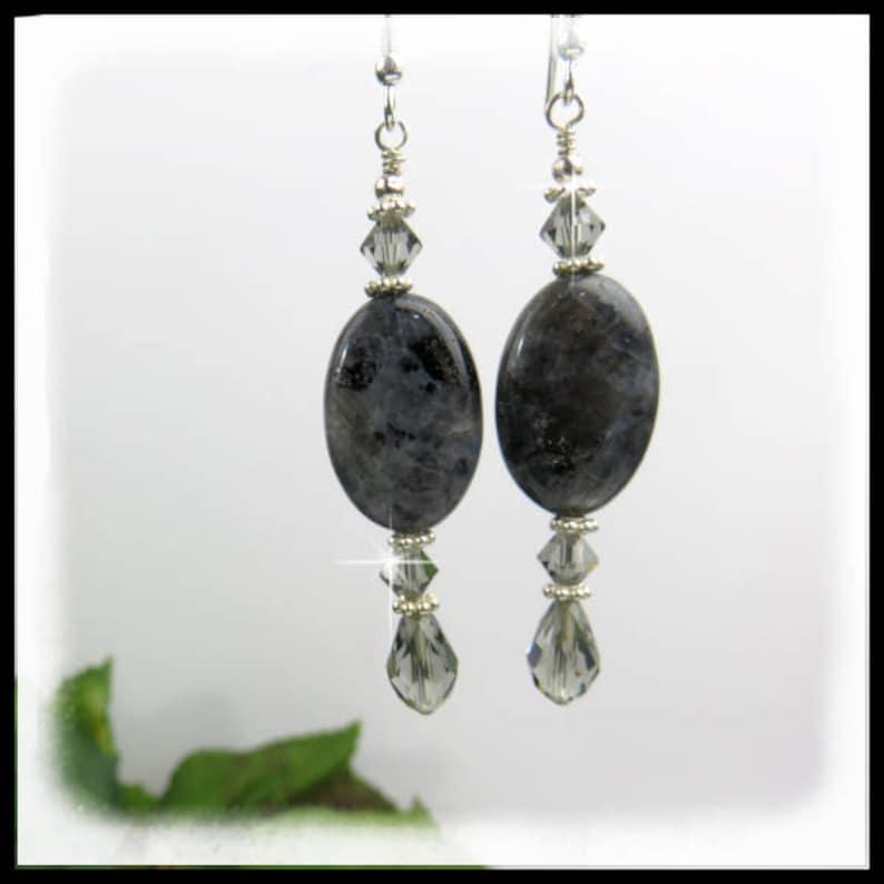 1564 Black Labradorite Oval Earrings Gray Earrings Gray image 0