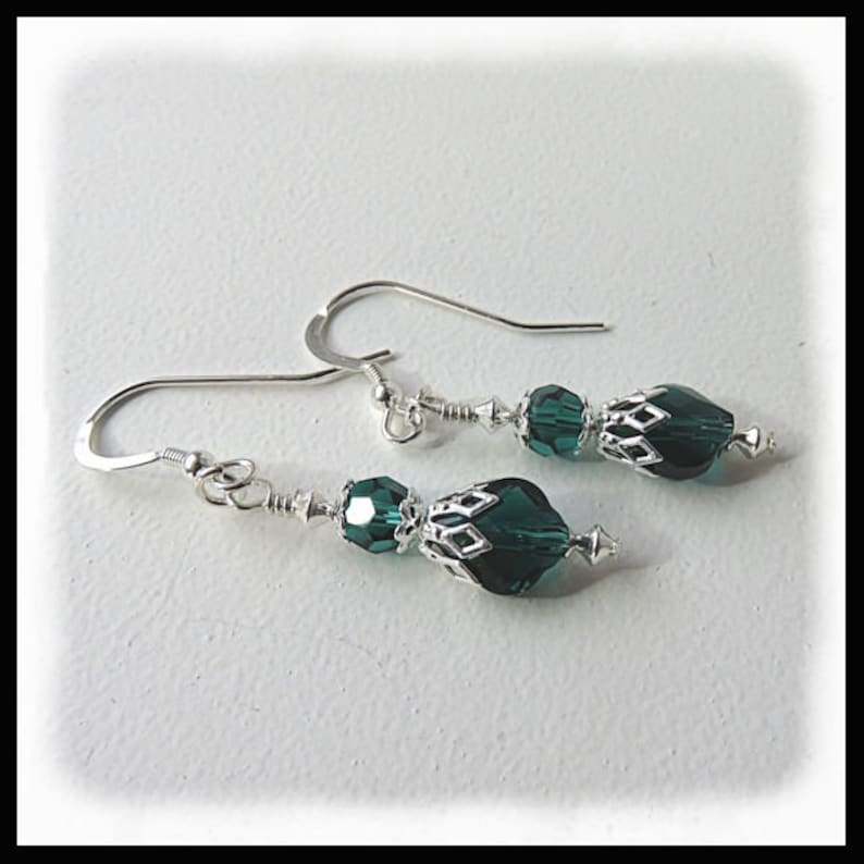 2480 May Birthstone earrings Emerald crystal earrings Green image 0
