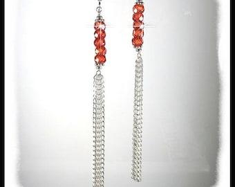2192. Red Orange faceted Cubic Zirconia earrings, long shoulder duster earrings, diamond cut sterling  chain earrings, red orange jewelry