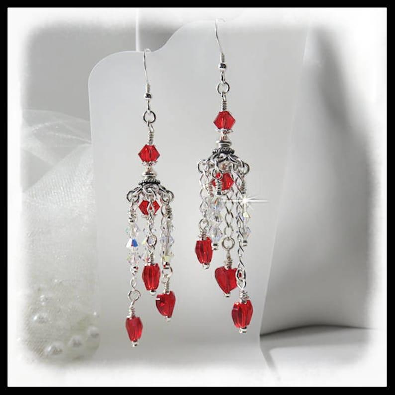 2414 Valentine earrings Red crystal hearts red earrings image 0