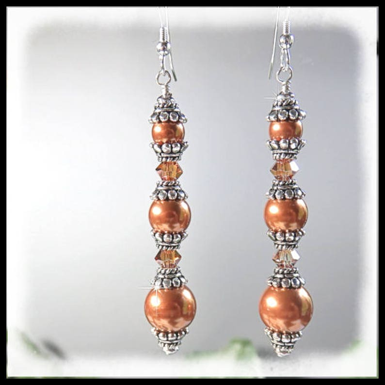 1709E Copper Pearls and crystals earrings long pearl image 0