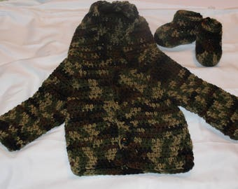 Crochet Baby Camo Hoodie And Boots Set 0-3 Months Great Baby Shower Gift