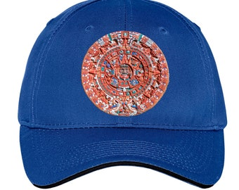 a4e70d571 Aztec Sun Stone Native American Flute Player Cap Baseball Hat Dad Hat  Trucker Hat Southwestern Indian Ruins