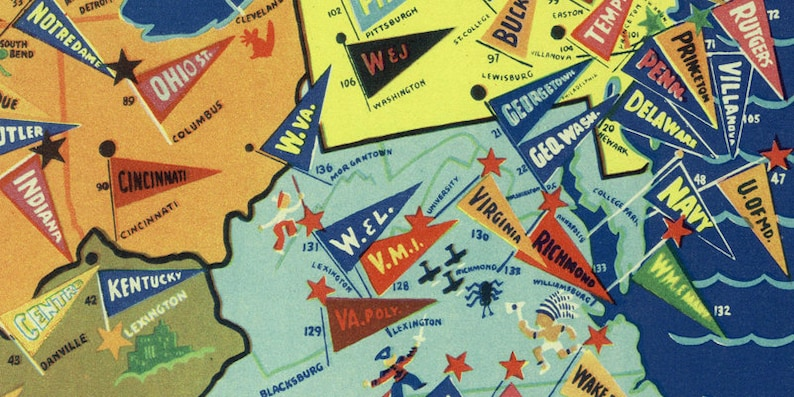1938 NCAA College Football Map Illustrated Color Poster Art United States  US Texas Duke Notre Dame Yale Stanford Cornell Wall Decal