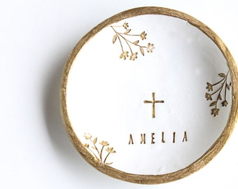 Cross Jewelry Dish, First Communion Favors, Ring Dish with Cross, First Holy Communion Favor, First Communion Gift, Christening Favors