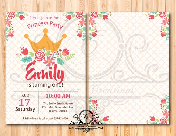 Princess Party Invite Birthday Party Invitation Template Editable Text Birthday Card Template Printable Greeting Card Card Template