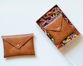 Envelope card holder etsy vegan leather envelope wallet gifts for her square business card holder business card reheart Choice Image