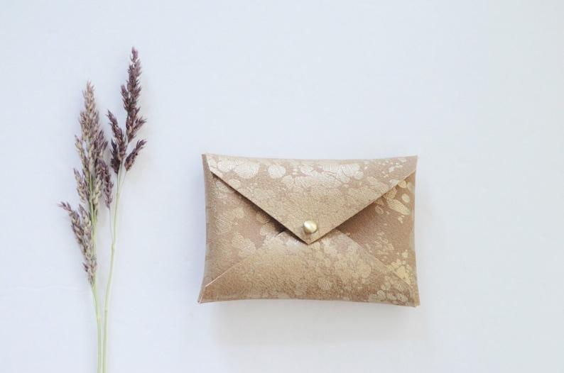 Vegan Gold Splash Wallet Gifts For Her Gold Business Card Wallet Vegan Leather Business Card Holder Business Card Case